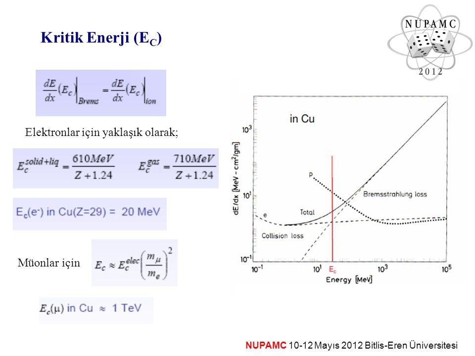 NUPAMC 10-12 Mayıs 2012 Bitlis-Eren Üniversitesi Kritik Enerji (E C ) Elektronlar için yaklaşık olarak; Müonlar için