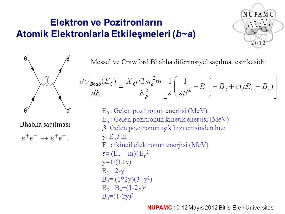NUPAMC 10-12 Mayıs 2012 Bitlis-Eren Üniversitesi Elektron ve Pozitronların Atomik Elektronlarla Etkileşmeleri (b~a) Bhabha saçılması Messel ve Crawfor