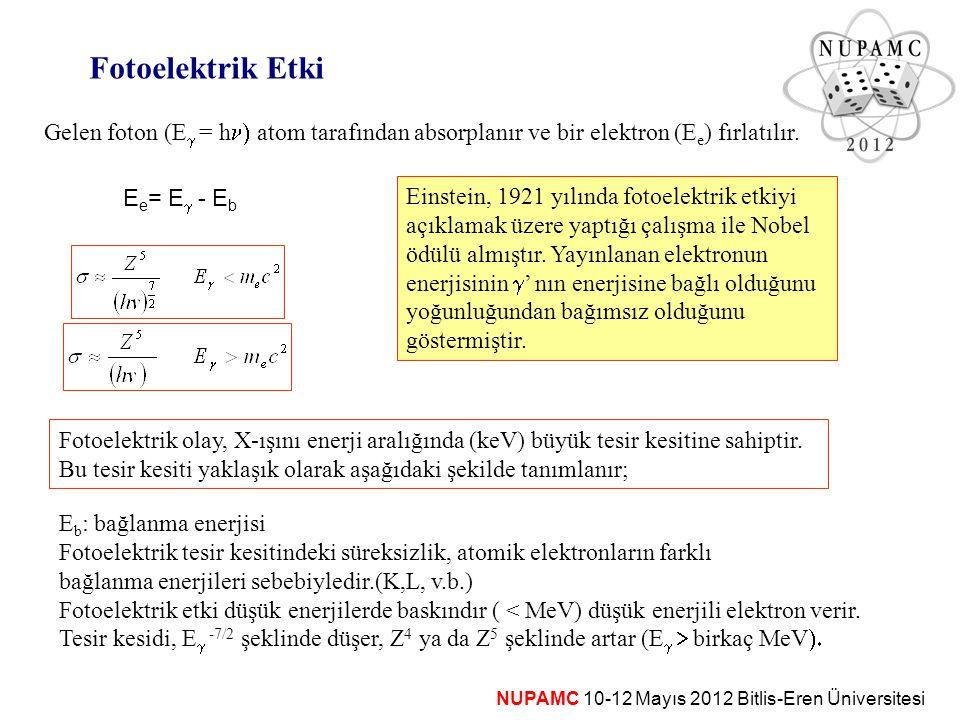 NUPAMC 10-12 Mayıs 2012 Bitlis-Eren Üniversitesi Fotoelektrik Etki Gelen foton (E  = h  atom tarafından absorplanır ve bir elektron (E e ) fırlatı