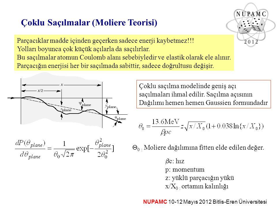 NUPAMC 10-12 Mayıs 2012 Bitlis-Eren Üniversitesi Çoklu Saçılmalar (Moliere Teorisi) Parçacıklar madde içinden geçerken sadece enerji kaybetmez!!! Yoll