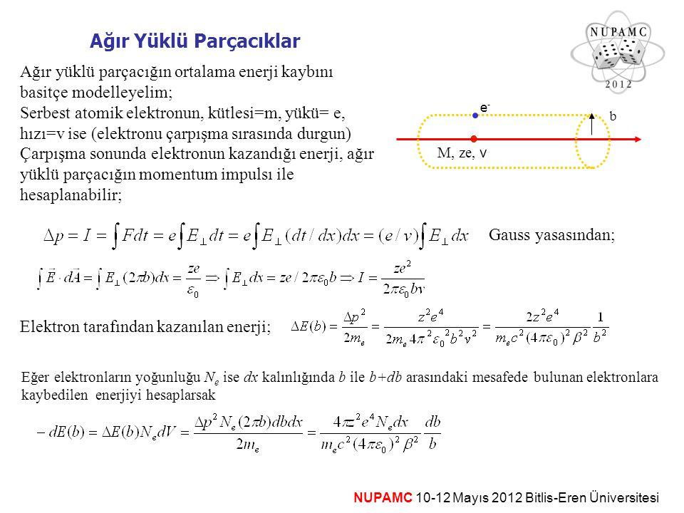 Ağır Yüklü Parçacıklar  M, ze, v b e-e- Ağır yüklü parçacığın ortalama enerji kaybını basitçe modelleyelim; Serbest atomik elektronun, kütlesi=m, yük