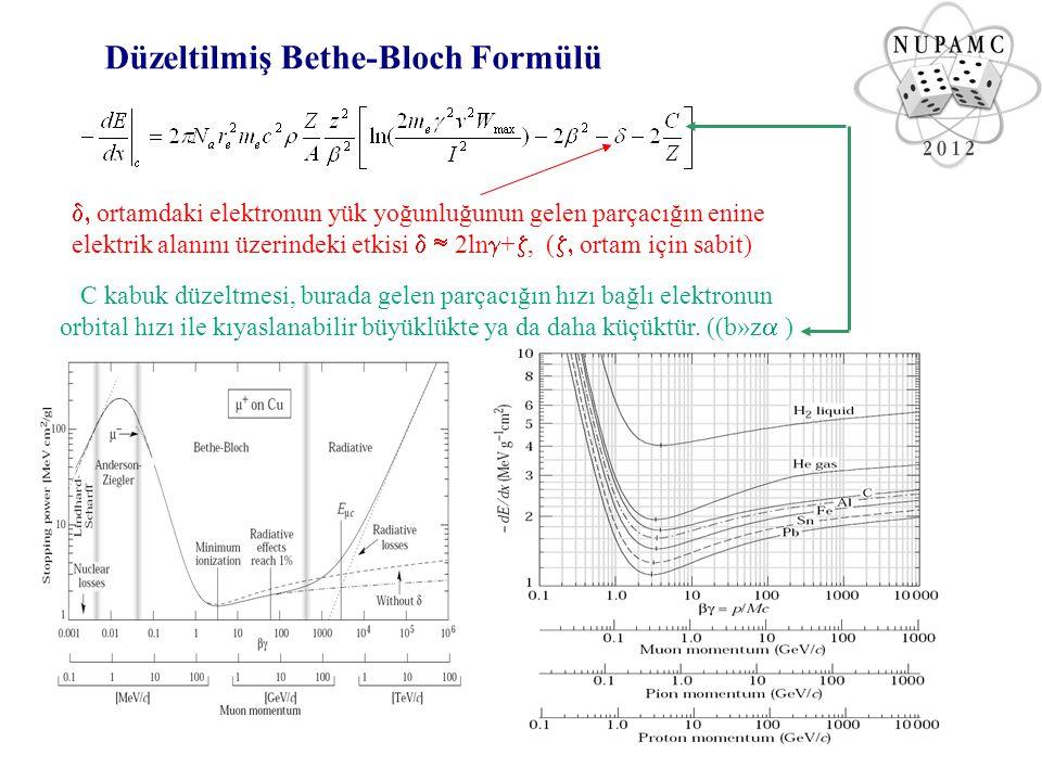 Elektron ve Pozitron için Enerji Kaybı Elektron ve pozitronların madde içindeki enerji kayıpları, ışıma ve çarpışma ile olmak üzere iki kısımda incelenir: Yüksek enerjili elektronlar için radyasyon ile enerji kaybının çarpışma ile enerji kaybına oranı; Elektronun madde içerisindeki Enerji kaybı NUPAMC 10-12 Mayıs 2012 Bitlis-Eren Üniversitesi