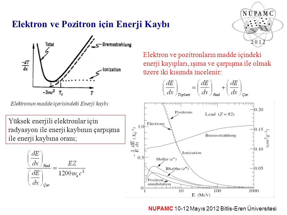 Elektron ve pozitronun iyonizasyon ve eksidasyon sebebiyle enerji kaybı hesabı biraz daha karmaşıktır: spin ½ kütle daha küçük elektron için her iki parçacık aynı Ağır parçacıkların enerji kaybına benzer formda; Elektron ve Pozitron için Çarpışma ile Enerji Kaybı burada , m e c 2 biriminde gelen parçacığın kinetik enerjisidir.