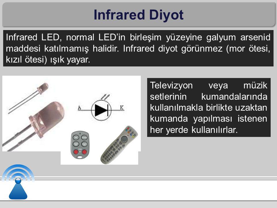 Infrared Diyot Infrared LED, normal LED'in birleşim yüzeyine galyum arsenid maddesi katılmamış halidir. Infrared diyot görünmez (mor ötesi, kızıl ötes