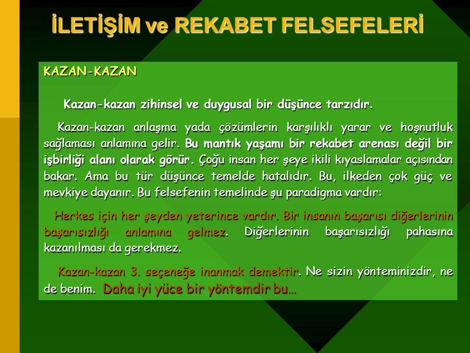 İLETİŞİM ve REKABET FELSEFELERİ KAZAN-KAZAN Kazan-kazan zihinsel ve duygusal bir düşünce tarzıdır. Kazan-kazan zihinsel ve duygusal bir düşünce tarzıd