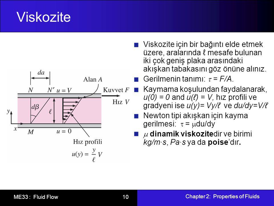 Chapter 2: Properties of Fluids ME33 : Fluid Flow 10 Viskozite Viskozite için bir bağıntı elde etmek üzere, aralarında ℓ mesafe bulunan iki çok geniş