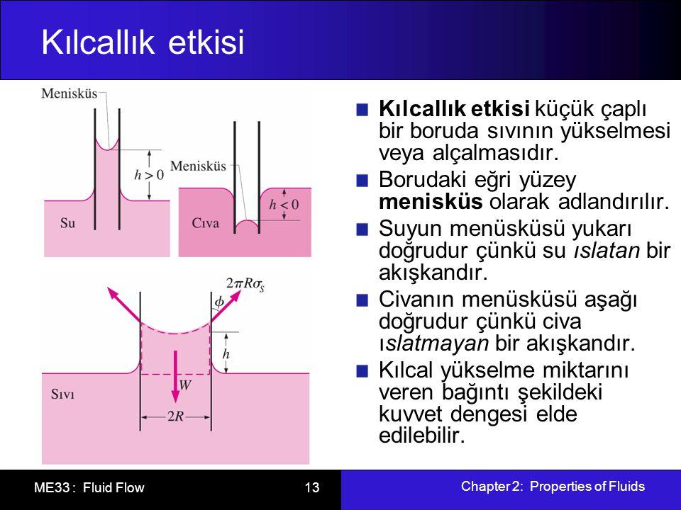 Chapter 2: Properties of Fluids ME33 : Fluid Flow 13 Kılcallık etkisi Kılcallık etkisi küçük çaplı bir boruda sıvının yükselmesi veya alçalmasıdır. Bo