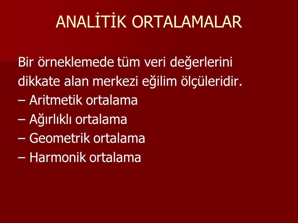 ARİTMETİK ORTALAMA Gözlenen değerlerin tümü toplanarak gözlem sayısına bölündüğünde elde edilen değere aritmetik ortalama denir.
