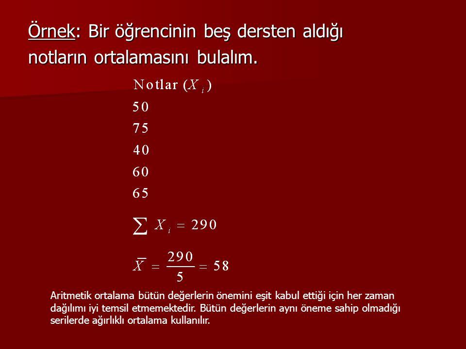 ARİTMATİK ORTALAMANIN BAZI ÖZELLİKLERİ VE DEZAVANTAJLARI • • Bir serideki her bir veri değerinin aritmetik ortalamadan olan sapmalarının toplamı daima sıfırdır.