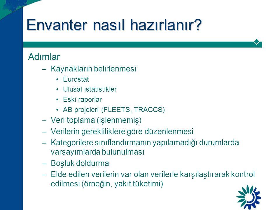 Envanter nasıl hazırlanır? Adımlar –Kaynakların belirlenmesi •Eurostat •Ulusal istatistikler •Eski raporlar •AB projeleri (FLEETS, TRACCS) –Veri topla