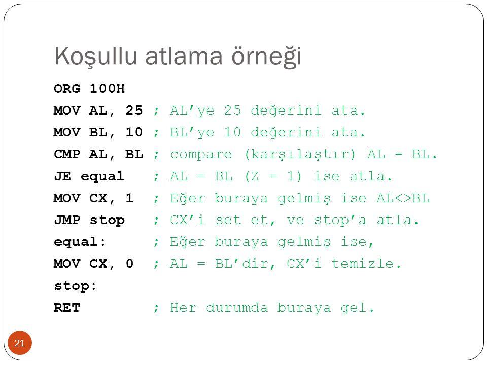 Koşullu atlama örneği 21 ORG 100H MOV AL, 25 ; AL'ye 25 değerini ata. MOV BL, 10 ; BL'ye 10 değerini ata. CMP AL, BL ; compare (karşılaştır) AL - BL.