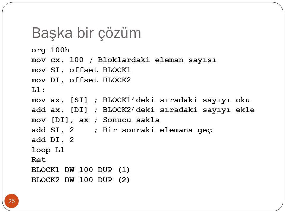 Başka bir çözüm 25 org 100h mov cx, 100 ; Bloklardaki eleman sayısı mov SI, offset BLOCK1 mov DI, offset BLOCK2 L1: mov ax, [SI] ; BLOCK1'deki sıradak