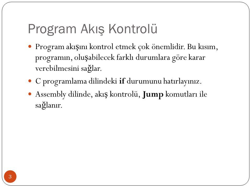 Şartsız Atlamalar (Jump) 4  Programda, kontrolü ba ş ka bir satıra atlatan temel komut JMP komutudur: JMP etiket  Programınızda etiket tanımlamak için, adını yazın ve : ekleyin.