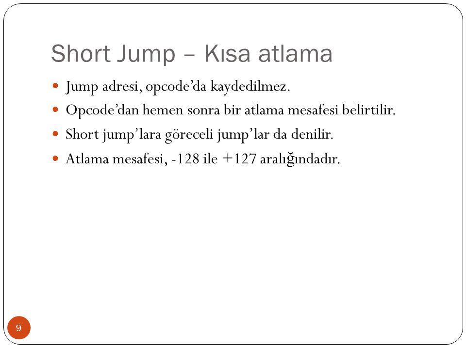 Short Jump – Kısa atlama 9  Jump adresi, opcode'da kaydedilmez.  Opcode'dan hemen sonra bir atlama mesafesi belirtilir.  Short jump'lara göreceli j