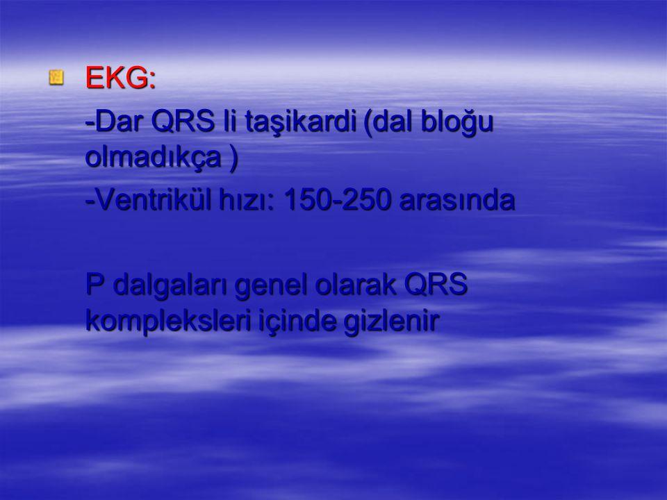 EKG: -Dar QRS li taşikardi (dal bloğu olmadıkça ) -Ventrikül hızı: 150-250 arasında P dalgaları genel olarak QRS kompleksleri içinde gizlenir