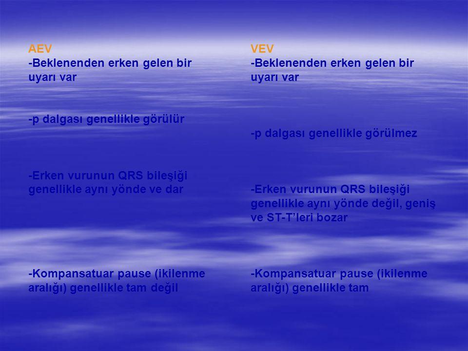 AEV -Beklenenden erken gelen bir uyarı var -p dalgası genellikle görülür -Erken vurunun QRS bileşiği genellikle aynı yönde ve dar -Kompansatuar pause