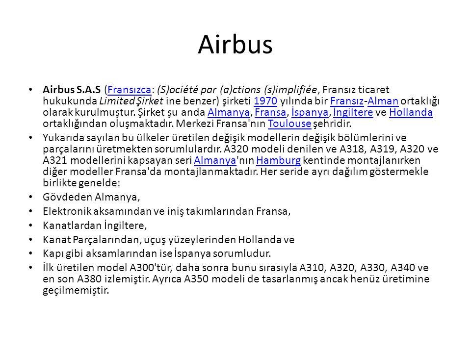 Airbus • Airbus S.A.S (Fransızca: (S)ociété par (a)ctions (s)implifiée, Fransız ticaret hukukunda Limited Şirket ine benzer) şirketi 1970 yılında bir