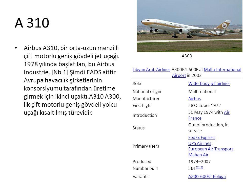 A 310 • Airbus A310, bir orta-uzun menzilli çift motorlu geniş gövdeli jet uçağı. 1978 yılında başlatılan, bu Airbus Industrie, [Nb 1] Şimdi EADS aitt
