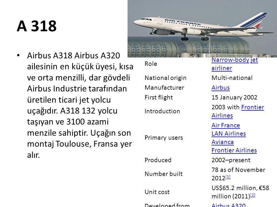 A 318 • Airbus A318 Airbus A320 ailesinin en küçük üyesi, kısa ve orta menzilli, dar gövdeli Airbus Industrie tarafından üretilen ticari jet yolcu uça