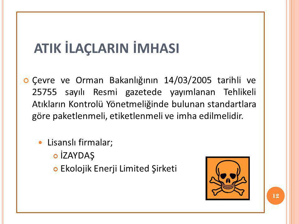 12 Çevre ve Orman Bakanlığının 14/03/2005 tarihli ve 25755 sayılı Resmi gazetede yayımlanan Tehlikeli Atıkların Kontrolü Yönetmeliğinde bulunan standa