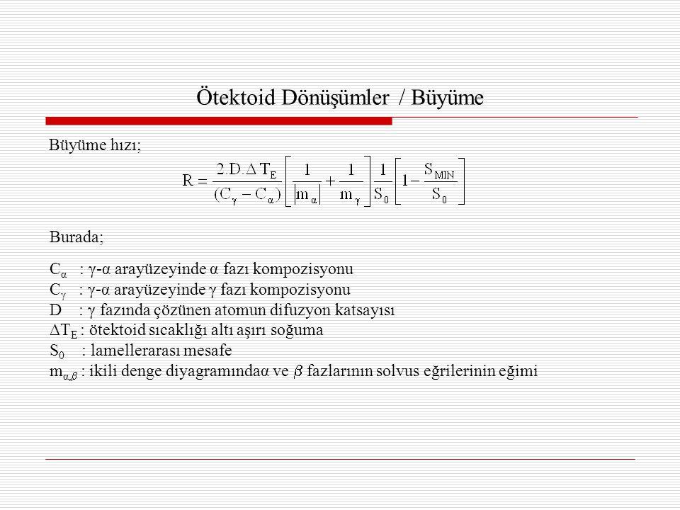 Ötektoid Dönüşümler / Büyüme Büyüme hızı; Burada; C α : γ-α arayüzeyinde α fazı kompozisyonu C γ : γ-α arayüzeyinde γ fazı kompozisyonu D : γ fazında çözünen atomun difuzyon katsayısı ∆T E : ötektoid sıcaklığı altı aşırı soğuma S 0 : lamellerarası mesafe m α,  : ikili denge diyagramındaα ve  fazlarının solvus eğrilerinin eğimi