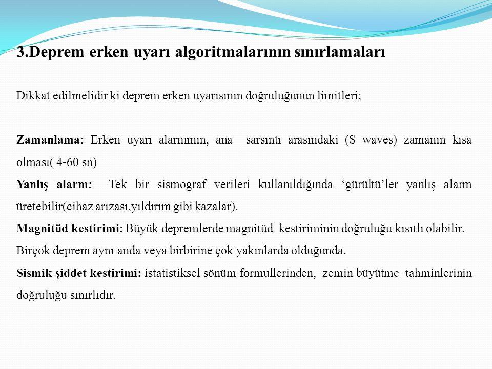 3.Deprem erken uyarı algoritmalarının sınırlamaları Dikkat edilmelidir ki deprem erken uyarısının doğruluğunun limitleri; Zamanlama: Erken uyarı alarm