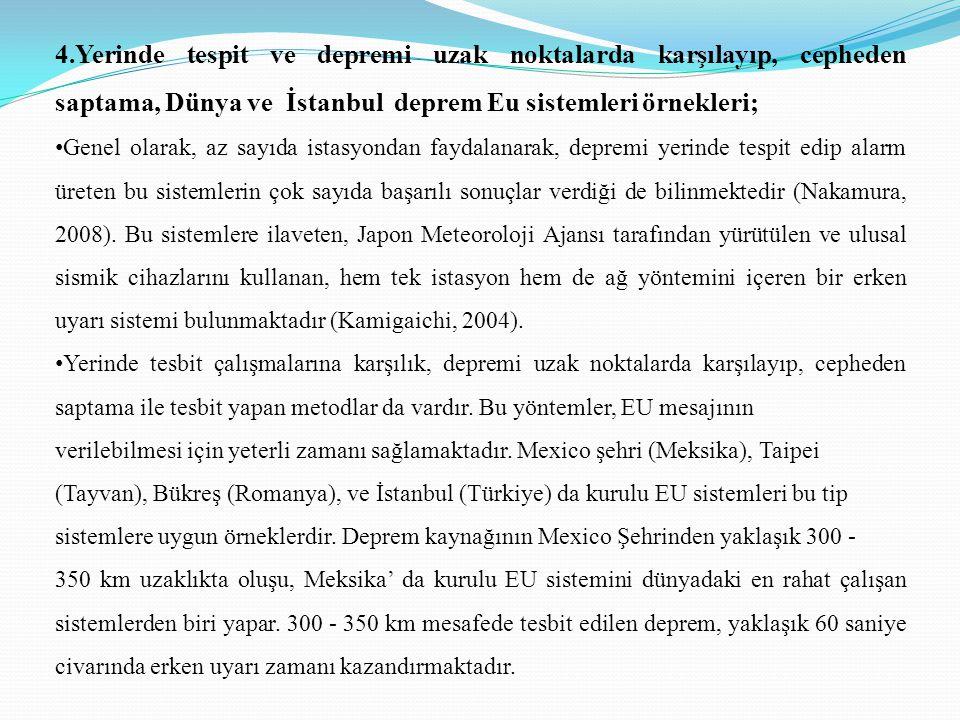 4.Yerinde tespit ve depremi uzak noktalarda karşılayıp, cepheden saptama, Dünya ve İstanbul deprem Eu sistemleri örnekleri; • Genel olarak, az sayıda