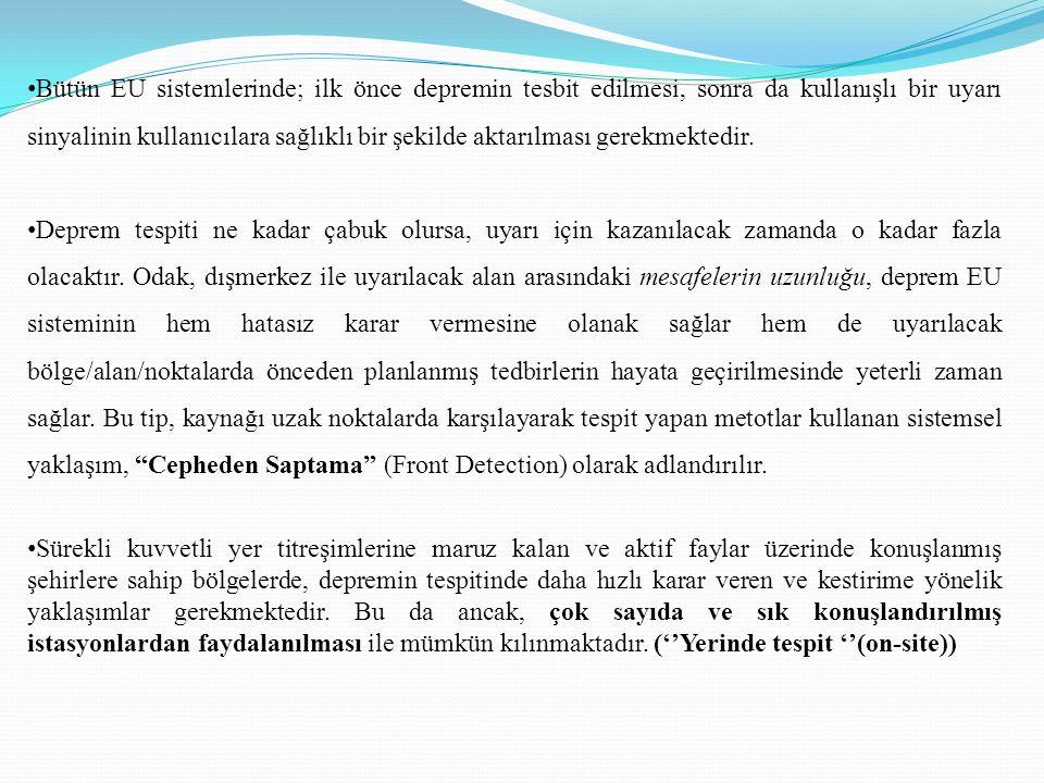 • Bütün EU sistemlerinde; ilk önce depremin tesbit edilmesi, sonra da kullanışlı bir uyarı sinyalinin kullanıcılara sağlıklı bir şekilde aktarılması g