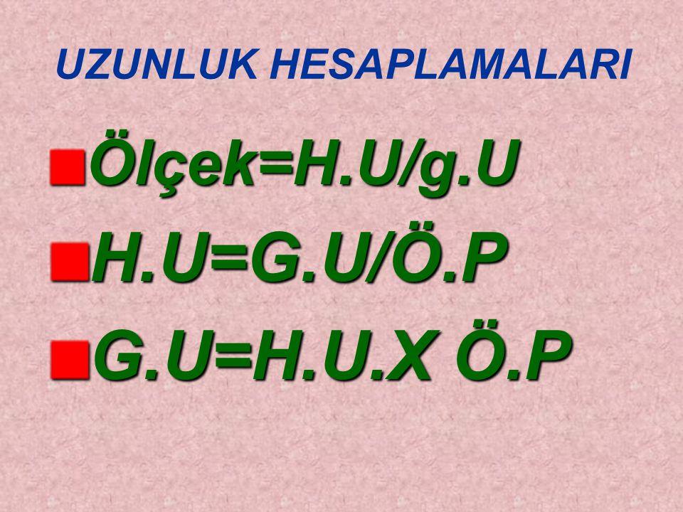 UZUNLUK HESAPLAMALARI Ölçek=H.U/g.UH.U=G.U/Ö.P G.U=H.U.X Ö.P