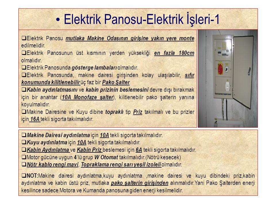 • Elektrik Panosu-Elektrik İşleri-1  Elektrik Panosu mutlaka Makine Odasının girişine yakın yere monte edilmelidir.  Elektrik Panosunun üst kısmının