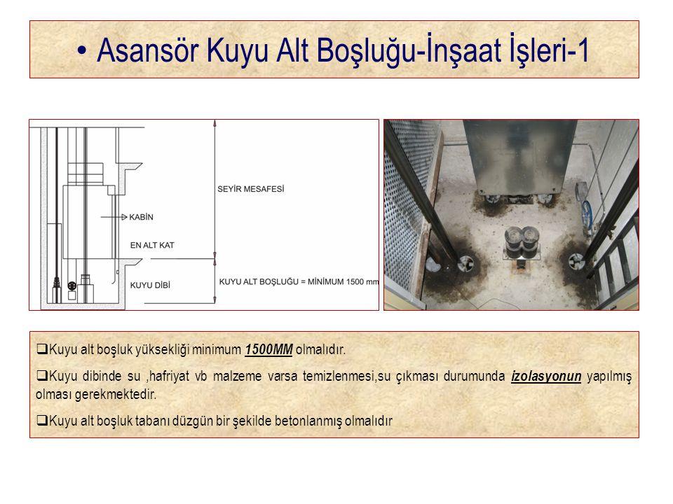 • Asansör Kuyu Alt Boşluğu-İnşaat İşleri-1  Kuyu alt boşluk yüksekliği minimum 1500MM olmalıdır.
