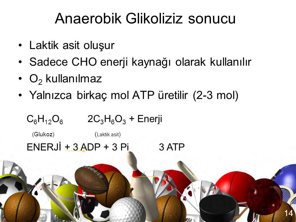 13 Kas Glikojeni Glukoz Kan Glukozu Glikolitik Reaksiyonlar ADP+Pi Zinciri ATP Pirüvik Asit Laktik Asit Anaerobik glikoliz: Glikojen kimyasal bir seri