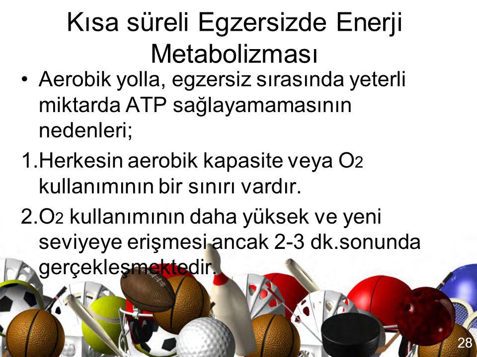 27 Egzersizde enerji metabolizması •Egzersizde kullanılan enerji kaynağı egzersizin türü, şiddeti, süresi ve sporcunun beslenme düzeyi ile ilgilidir.