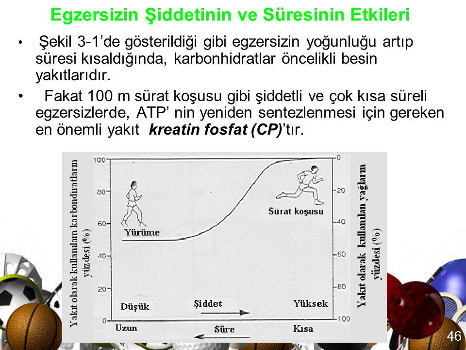 45 • Yakıt olarak proteinlerin kullanımı Ancak çok uzun süren dayanıklılık aktivitelerinde kullanılan proteinler, toplam enerji ihtiyacına yaklaşık %