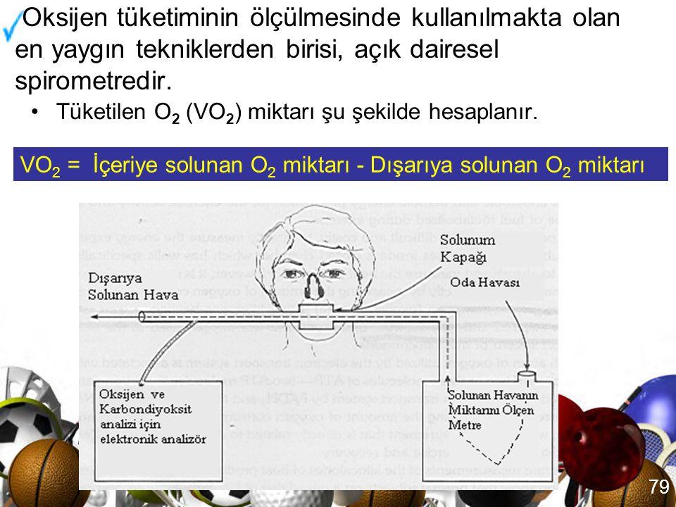 78 Direkt kalorimetri : Besin + O 2 ATP + Isı Hücre çalışması Isı İndirekt kalorimetri: Besin + O 2 Isı + CO 2 + H 2 O (İndirekt kalorimetri) (Direkt