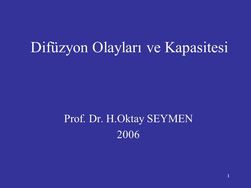 1 Difüzyon Olayları ve Kapasitesi Prof. Dr. H.Oktay SEYMEN 2006