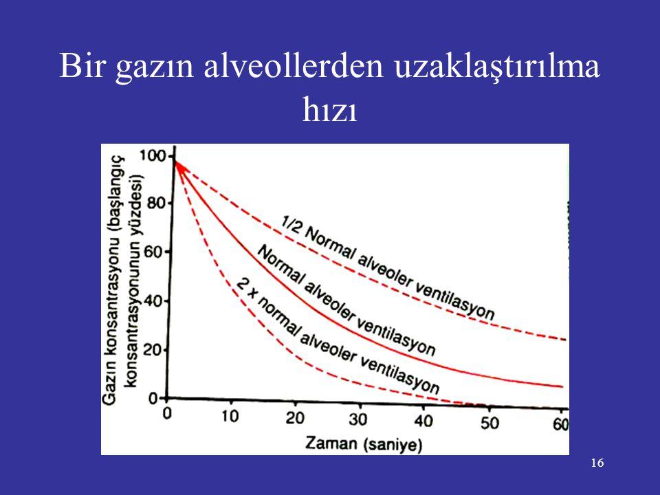16 Bir gazın alveollerden uzaklaştırılma hızı