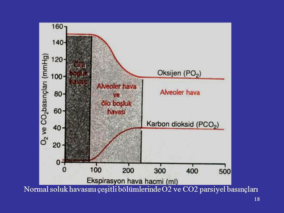 18 Normal soluk havasını çeşitli bölümlerinde O2 ve CO2 parsiyel basınçları