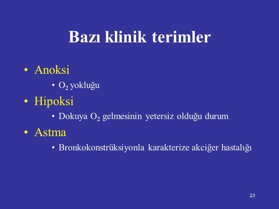 23 •Anoksi •O 2 yokluğu •Hipoksi •Dokuya O 2 gelmesinin yetersiz olduğu durum •Astma •Bronkokonstrüksiyonla karakterize akciğer hastalığı Bazı klinik