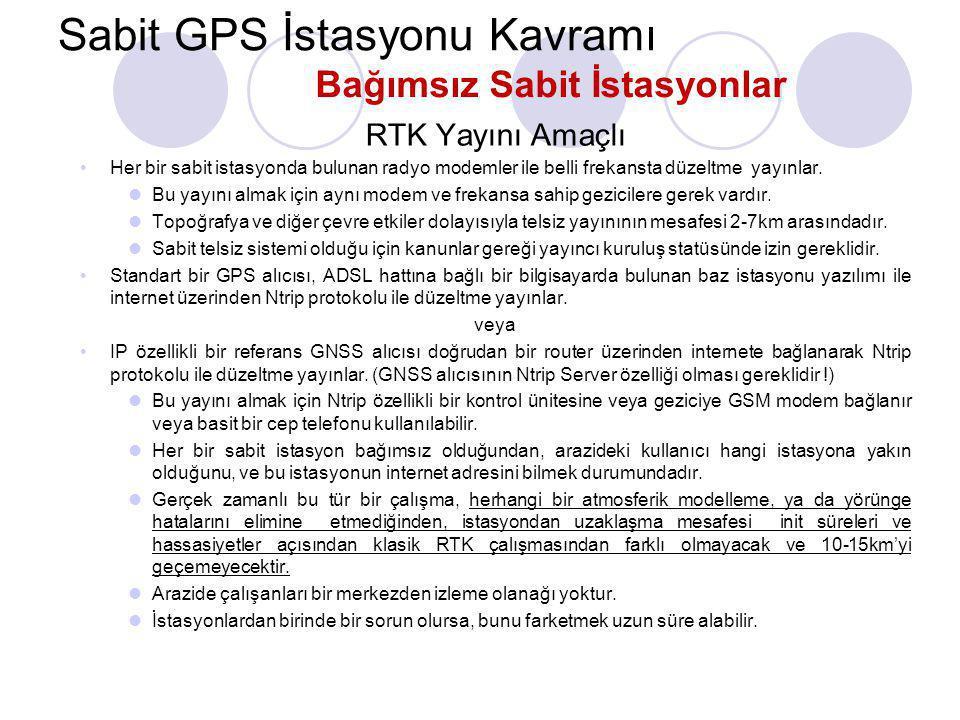 Sabit GPS İstasyonu Kavramı Statik Ölçme Amaçlı GPS alıcısının kendi belleğine veya bağlı olduğu bilgisayara ham veri kaydeder. •Bu sistemlerde genell