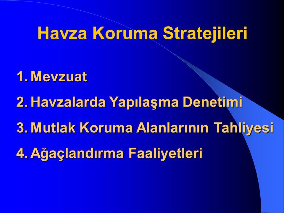 1.Mevzuat 2.Havzalarda Yapılaşma Denetimi 3.Mutlak Koruma Alanlarının Tahliyesi 4.Ağaçlandırma Faaliyetleri Havza Koruma Stratejileri