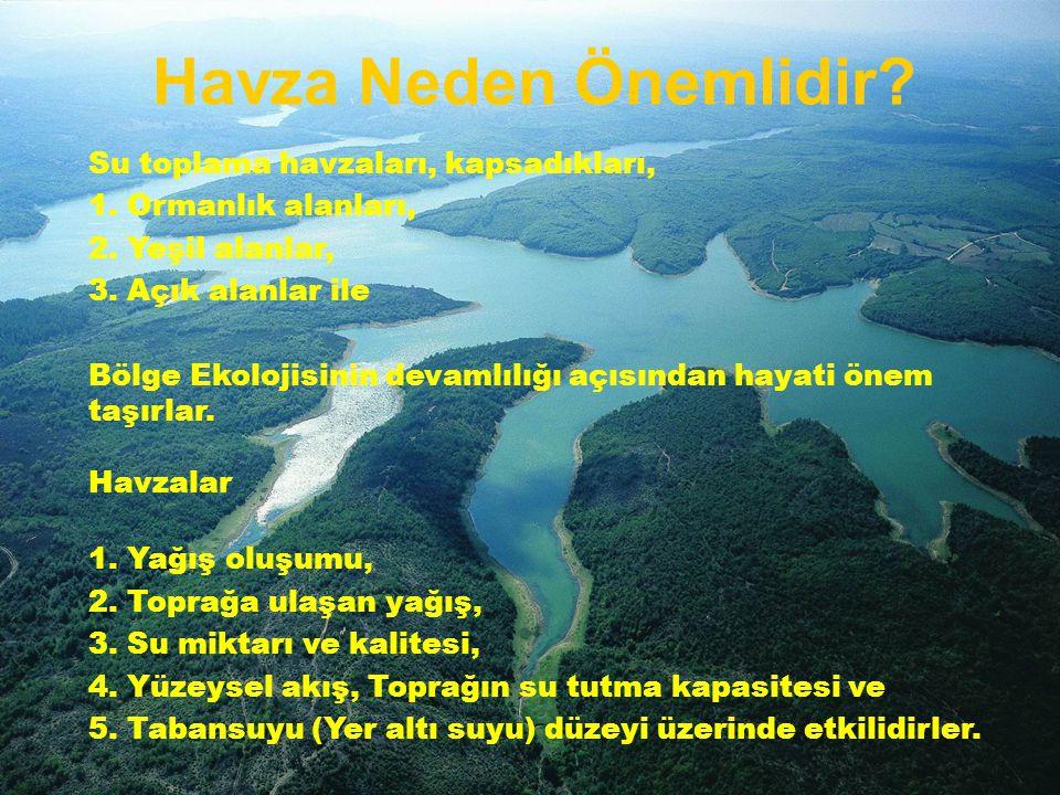 Su toplama havzaları, kapsadıkları, 1. Ormanlık alanları, 2. Yeşil alanlar, 3. Açık alanlar ile Bölge Ekolojisinin devamlılığı açısından hayati önem t