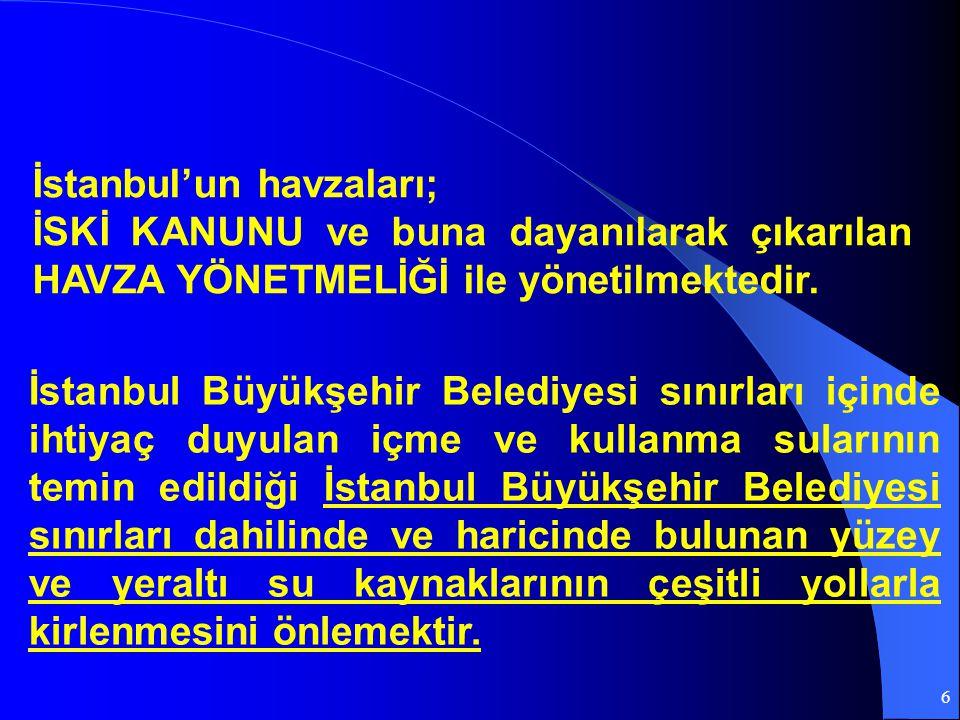 6 İstanbul Büyükşehir Belediyesi sınırları içinde ihtiyaç duyulan içme ve kullanma sularının temin edildiği İstanbul Büyükşehir Belediyesi sınırları d