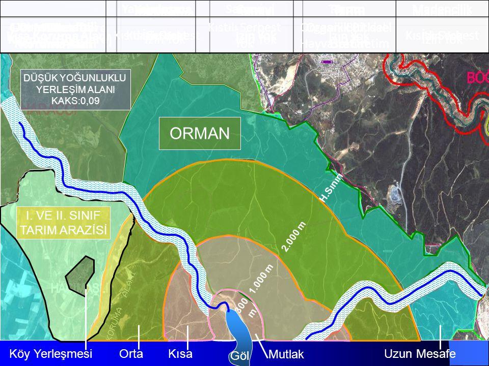 7 Göl Mutlak Kısa OrtaUzun Mesafe ORMAN I. VE II. SINIF TARIM ARAZİSİ 300 m 1.000 m 2.000 m H.Sınırı Köy Yerleşmesi DÜŞÜK YOĞUNLUKLU YERLEŞİM ALANI KA