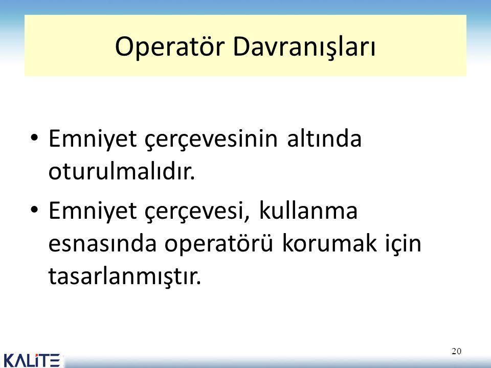 Operatör Davranışları • Emniyet çerçevesinin altında oturulmalıdır. • Emniyet çerçevesi, kullanma esnasında operatörü korumak için tasarlanmıştır. 20