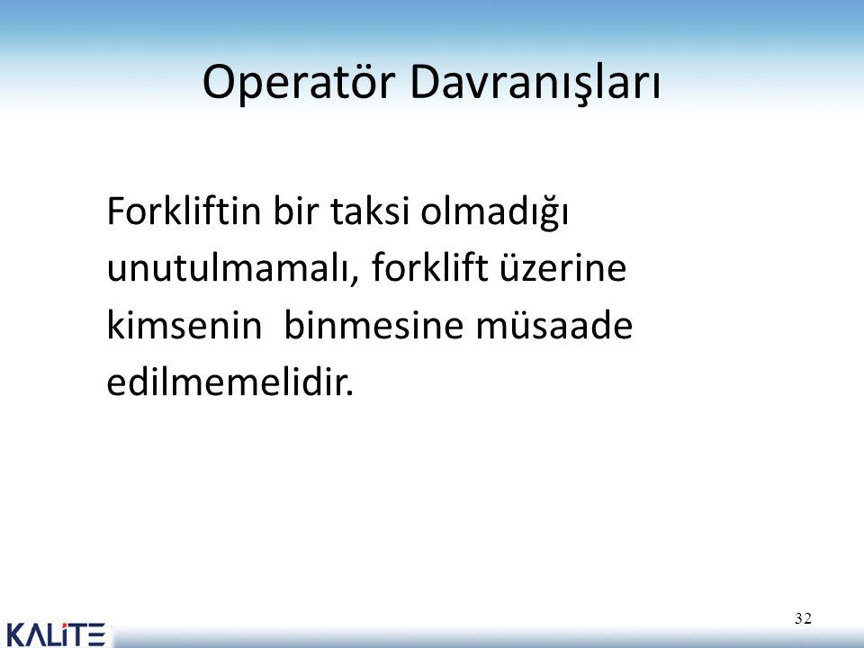 Operatör Davranışları Forkliftin bir taksi olmadığı unutulmamalı, forklift üzerine kimsenin binmesine müsaade edilmemelidir. 32