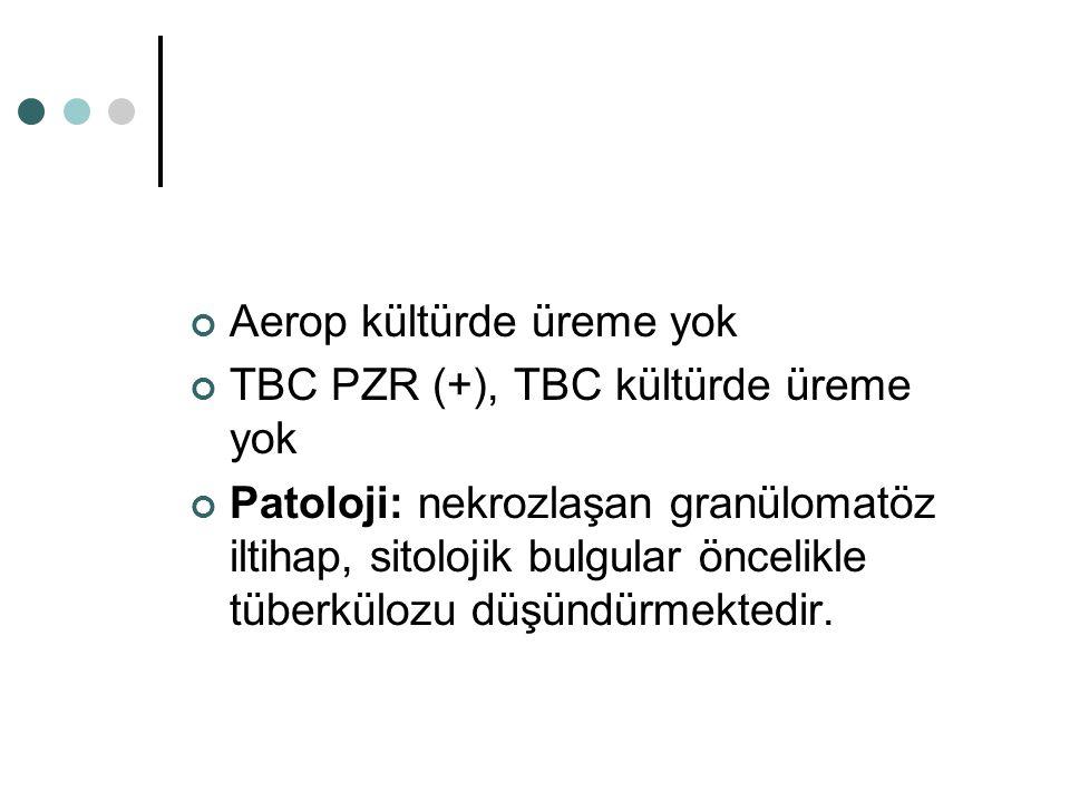Aerop kültürde üreme yok TBC PZR (+), TBC kültürde üreme yok Patoloji: nekrozlaşan granülomatöz iltihap, sitolojik bulgular öncelikle tüberkülozu düşündürmektedir.