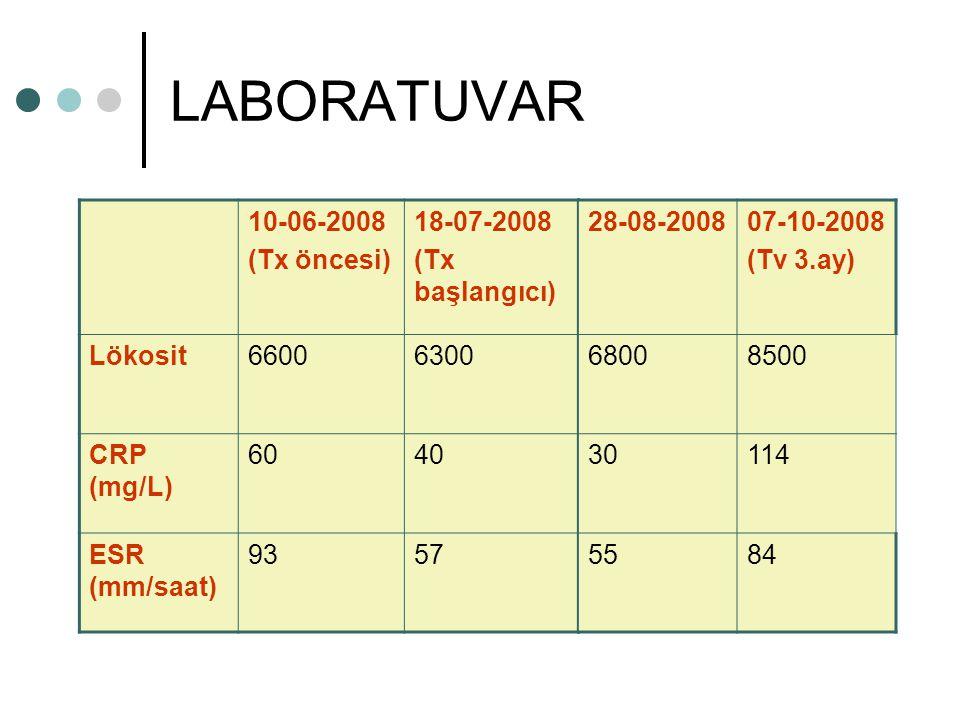 LABORATUVAR 10-06-2008 (Tx öncesi) 18-07-2008 (Tx başlangıcı) Lökosit66006300 CRP (mg/L) 6040 ESR (mm/saat) 9357 28-08-200807-10-2008 (Tv 3.ay) 68008500 30114 5584