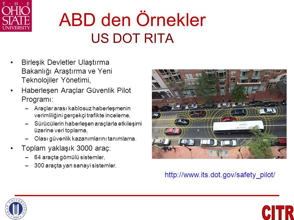 ABD den Örnekler US DOT RITA •Birleşik Devletler Ulaştırma Bakanlığı Araştırma ve Yeni Teknolojiler Yönetimi, •Haberleşen Araçlar Güvenlik Pilot Progr
