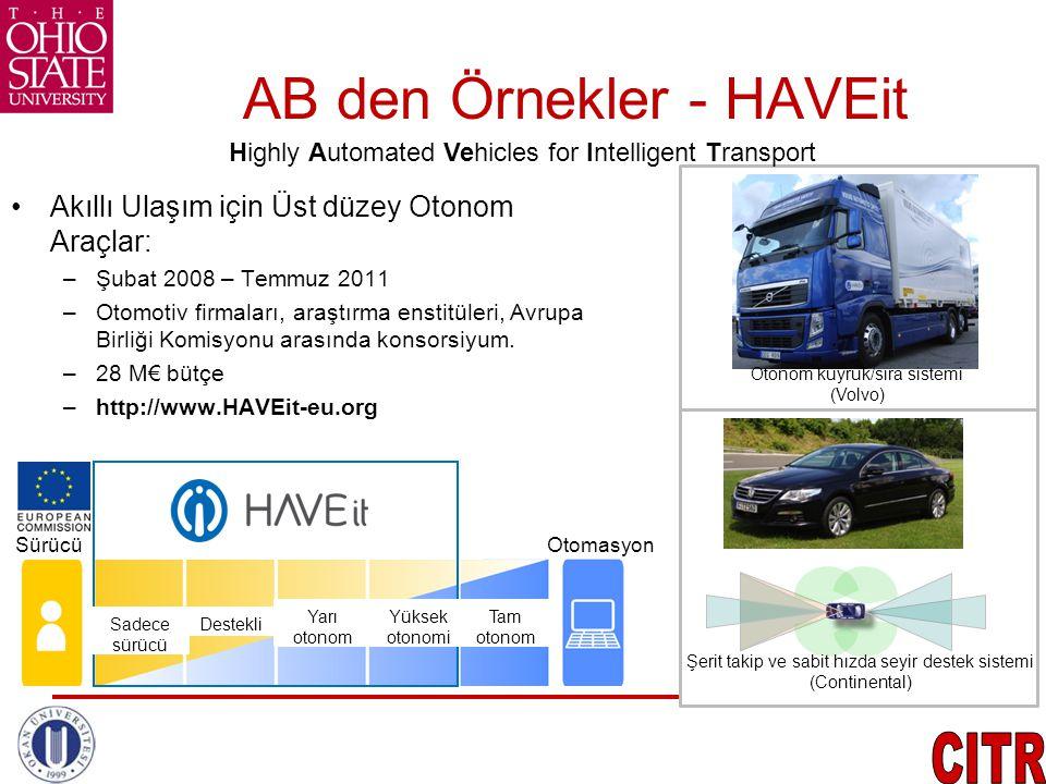 AB den Örnekler - HAVEit •Akıllı Ulaşım için Üst düzey Otonom Araçlar: –Şubat 2008 – Temmuz 2011 –Otomotiv firmaları, araştırma enstitüleri, Avrupa Bi